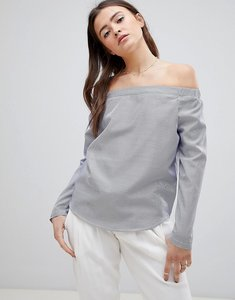 Read more about Glamorous off shoulder stripe top - blue white stripe