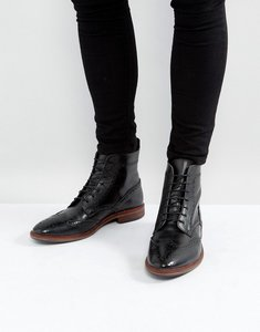 Read more about Asos lace up brogue boots in black leather with natural sole - black