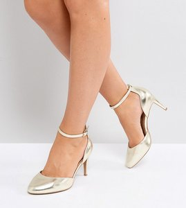 Read more about Asos swallow wide fit heels - champagne gold