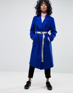 Read more about Asos oversized coat with contrast belt - blue