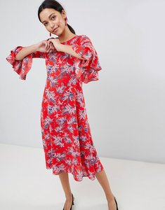 Read more about Traffic people floral print midi dress with flute sleeve - red