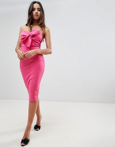 Read more about Girl in mind knot front strapless midi dress - magenta