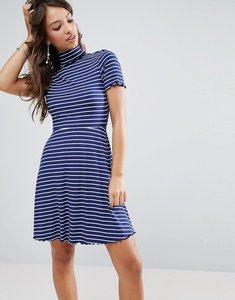 Read more about Asos stripe skater mini dress in rib with roll neck - navy white stripe