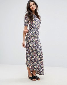 Read more about Warehouse ditsy print ruched maxi dress - multi