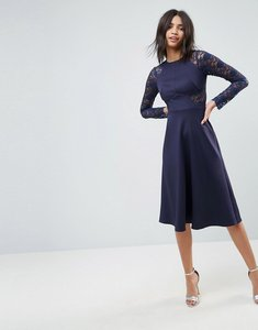 Read more about Asos premium midi scuba skater dress with lace sleeves - navy