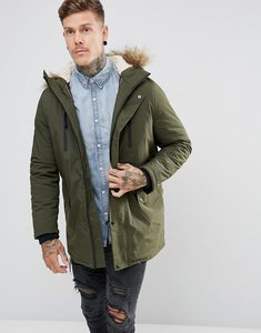 Read more about New look parka with faux fur lined hood in khaki - dark khaki