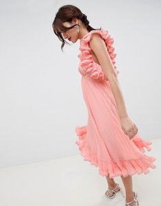 Read more about Asos design premium occasion ruffle back pleated midi dress - pastel peach