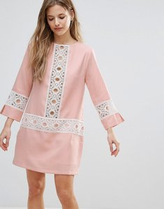 Read more about The english factory shift dress with crochet detail - nude pink