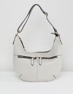 Read more about Yoki fashion zip detail slouch shoulder bag - light grey