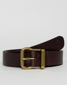 Read more about Polo ralph lauren leather belt logo buckle in brown - brown