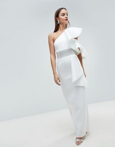Read more about Asos edition scuba one shoulder ruffle maxi dress with detachable diamante belt - white