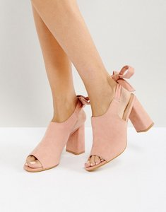 Read more about Glamorous tie back mid heeled mules - dusty pink