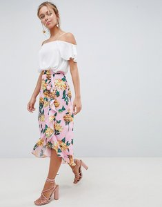 Read more about Asos design chiffon midi skirt with button and frill detail in floral print - multi