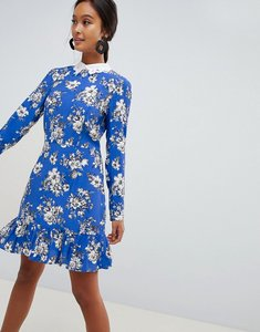 Read more about Asos design mini skater dress with long sleeves and collar in floral print - multi