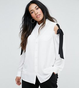 Read more about Asos curve blouse with tie cold shoulder - ivory