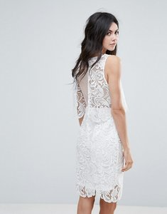 Read more about Amy lynn lace overlay midi dress with open back - white