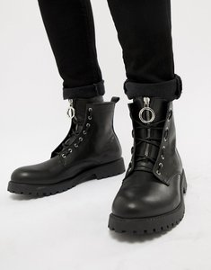 Read more about Asos design lace up boots in black leather with metal detail - black