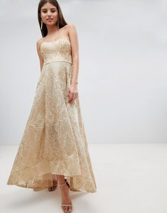 Read more about Bariano high low bandeau maxi dress in metallic jacquard - gold