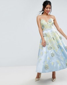 Read more about Asos salon contrast embroidered floral prom midi dress - multi