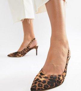 Read more about Asos design wide fit sebastian slingback mid heels in leopard - leopard