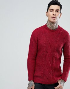 Read more about Asos cable knit mohair wool blend jumper in red - burgundy