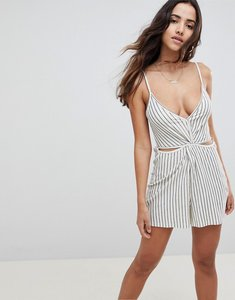 Read more about Asos design playsuit with cut out in textured stripe - ecru grey