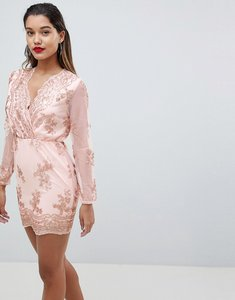 Read more about Ax paris long sleeve embellished bodycon dress - pink