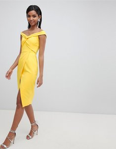Read more about Lavish alice twisted off the shoulder wrap midi dress - yellow