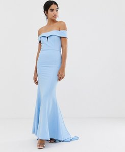 Read more about Jarlo bardot maxi dress with fishtail train in blue