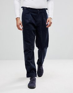 Read more about Asos skater trousers in navy cord with pleat - navy