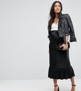 Read more about Asos maternity over the bump velvet drop hem midi skirt - black