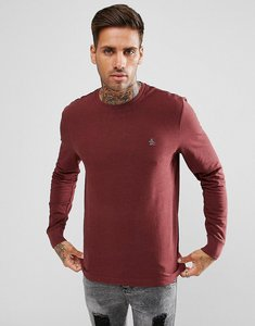 Read more about Original penguin long sleeve top pique logo in red marl - pomegranate hthr
