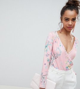 Read more about Asos design petite daywear wrap body in floral print - floral