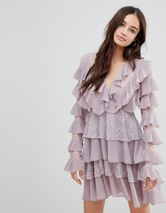 Read more about Glamorous frill skater dress - dusty lilac