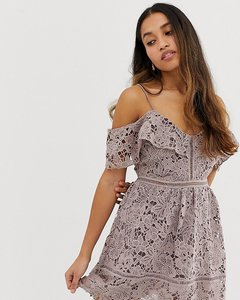 Read more about New look petite lace cold shoulder mini dress
