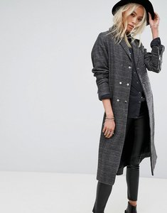 Read more about Religion longline trench coat in prince of wales check - light grey black ch