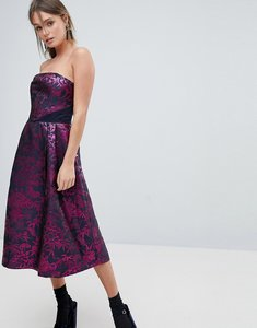 Read more about Oasis bandeau jacquard skater dress - multi pink