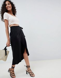 Read more about Asos design wrap midi skirt with tie - black