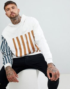 Read more about Asos design oversized hoodie with colour block stripe print in pink - ecru