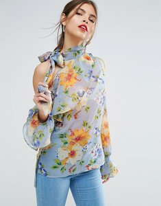 Read more about Asos floral blouse with one shoulder and tie neck - multi