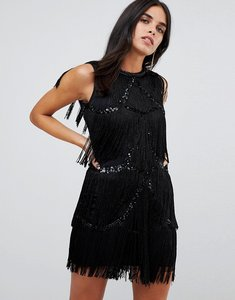 Read more about A star is born frayed embellished mini dress - black