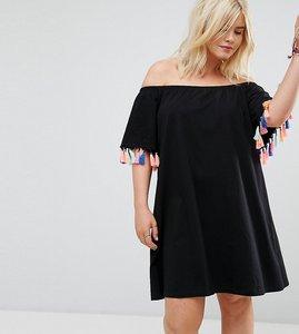 Read more about Asos curve off shoulder sundress with multi colour tassel detail - black