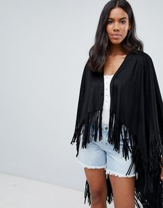 Read more about Qed london fringed festival poncho - black