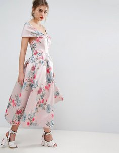 Read more about Asos salon floating bardot jacquard midi prom dress - multi