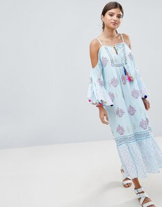 Read more about South beach maxi crepe block print beach dress with pom pom sleeve trim - multi