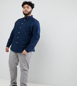 Read more about Asos design plus casual stretch regular fit oxford shirt in navy - navy