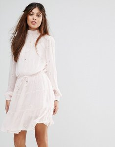 Read more about Vila high broderie detail tiered smock dress - pink