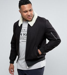 Read more about Asos plus cotton bomber jacket with borg collar in black - black