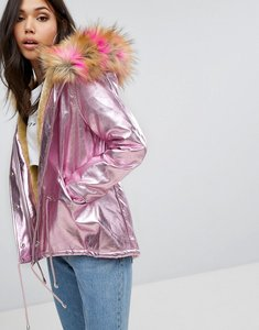 Read more about Prettylittlething iridescent faux fur hooded parka - pink