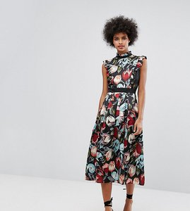 Read more about Horrockses victoriana high neck frill midi dress in floral print - multi